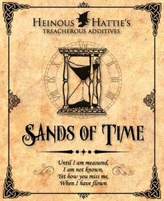Sands of time label... frame in dark wood to match my large hour glass.