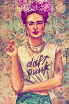 A painting of Frida Kahlo changing her image with tattoos  kool casual bohemian attitude. I'm loving the hair color.