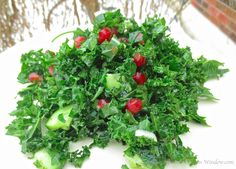 Parsley & Kale Salad with Pomegranate │© Life Through the Kitchen Window.com Fruit And Veg, Fruits And Veggies, Vegetables, Urban Cottage, Kale Salad, Parsley, Pomegranate, Celery, Make It Simple