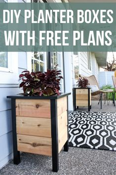 Learn how to make these easy DIY planter boxes for your front porch using the Kreg Jig Master System. The black painted legs and trim add a modern style with extra contrast. Planter Box Plans, Diy Planter Box, Diy Wooden Planters, Wooden Diy, Concrete Planters, Ceramic Planters, Porch Wooden, Rustic Planters, Front Porch Planters