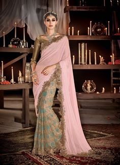 Pink and golden heavy embroidery designer saree
