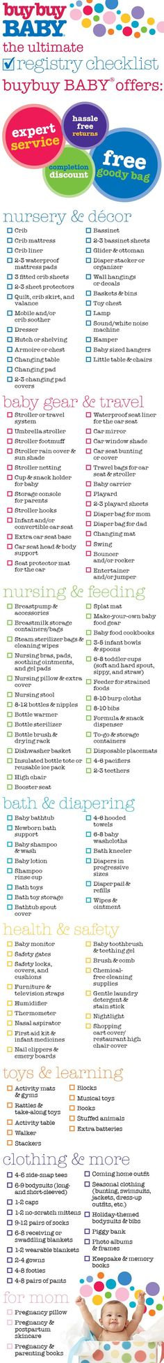buybuy BABY's Ultimate Registry Checklist It's a fact of life: your teeny, tiny baby will need a lot of stuff. The good news is (besides you being pregnant, of course), we're here to help. Our registry checklist identifies all the baby essentials new parents need. Still feeling like a registry rookie? Visit us in store; our friendly, knowledgeable registry experts would love to help you. Schedule your in-store appointment today!