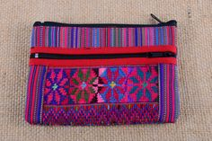 Vibrant embroidered zippered bag available now at https://www.etsy.com/listing/221502958/guatemalan-hand-embroidered-flower