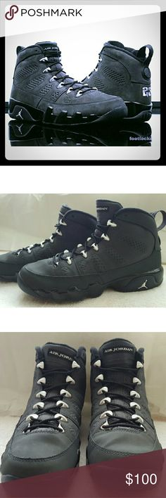 Air Jordan 9 Retro ANTHRACITE The shoe features an all over Anthracite nubuck upper, black midsole, and white detailing on the eyelets, midsole Jordan logo, tongue and back heel. LOVE this shoe ,Extremely Comfortable,Unfortunately they are a bit to big on me ,includes box                                        OPEN                                        TO                                     OFFERS Nike Shoes Sneakers