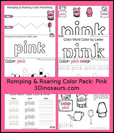 Free Romping & Roaring Color Pink Word Pack - 8 pages of activities - http://3Dinosaurs.com
