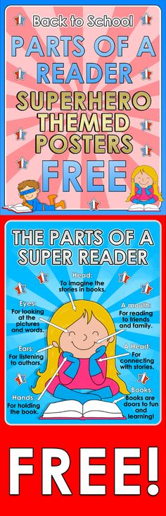 Back to School - Parts of a Reader - Superhero themed posters - FREE  Here you are 1 FREE poster for your super classroom!