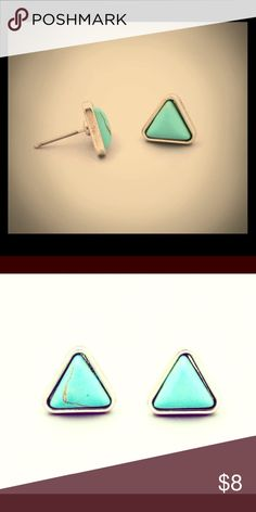 Distressed Turquoise Triangle Earrings These are brand new. They came to me in individual bags but each did not come with a tag. The distressed look on your stones may vary a bit. Each pair I got was just a little bit different. Jewelry Earrings