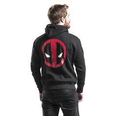 """Felpa uomo nera """"Logo"""" di #Deadpool dotata di cappuccio con coulisse, cerniera, 2 tasche laterali, orlo e polsini a costine, piccola stampa frontale e ampia stampa sul retro."""