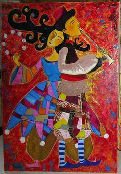 Tableau Peinture Art musiciens couple cirque spectacle Personnages Peinture a l'huile  - saltimbanques