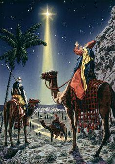 Matthew 2: Wise men following a shining star to Jesus