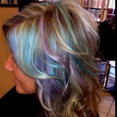 Lavender and teal haircolor