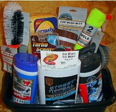 Gift basket ideas... auto basket: car washes, oil change, gas card