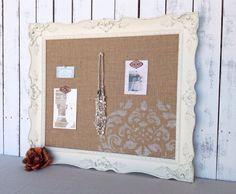 Framed cork board  shabby chic decor  large by YouMatterDesigns