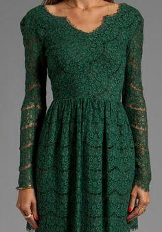 DOLCE VITA Selene Eyelash Lace Dress in Hunter - Dresses