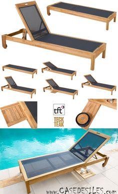 Bain de soleil teck design à Prix Imbattable : Transat teck toile empilable articulé design 9005