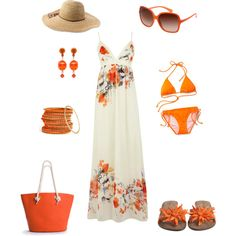 Beach Ready!, created by beverly-keith-simpkins on Polyvore #tangerinetango (kind of loving orange right now)
