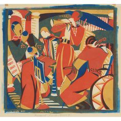 Lill Tschudi (1911-2001) RUMBA BAND II Color linocut, 1936