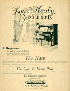1915 Ad Lyons Healy Pianos Harps Artist Earl Hildebrand Original Advertising | eBay
