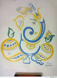 Art Ganesha Drawing, Lord Ganesha Paintings, Ganesha Art, Krishna Painting, Fabric Painting, Painting Tips, Painting Art, Watercolor Painting, Indian Art Paintings