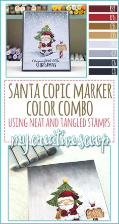 Neat and Tangled Santa Copic Marker Color Combo - My Creative Scoop Copic Marker Art, Copic Pens, Sketch Markers, Copics, Copic Color Chart, Copic Colors, Copic Markers Tutorial, Doodle, Neat And Tangled