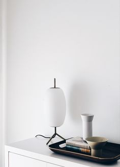 Beautiful lamp and trayby EQ3as statement pieces for my re-design minimal dining room.#minimalistlighting #minimalisthome