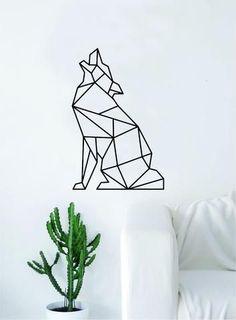 Geometric Wolf Howling Animal Design Decal Sticker Wall Vinyl Decor Art Living Room Bedroom Abstract Cool Teen