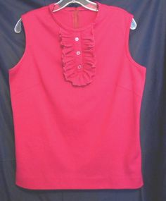 Donovan Galvarni Bright Pink Top  Ruffled Ascot Neck Sleeveless M Polyester #DonovanGaloani #KnitTop #Career