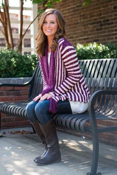 """How adorable is this cardigan!? The purple stripes are as precious as can be and look extra great on such a flawless fit. :) Material has generous amount of stretch. Sara is wearing the small. Sizes fit: Small- 0-4; Medium- 6; Large- 8-10 Length from shoulder to hem: S- 31""""; M- 32""""; L- 33""""."""