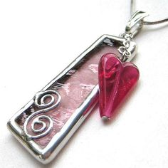 Stained glass pendant with cranberry heart-shaped glass bead | Flickr - Photo Sharing!