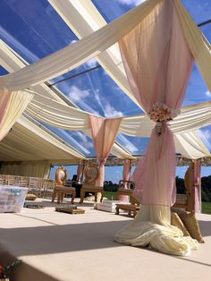 Clear marquee roof and draped fabric
