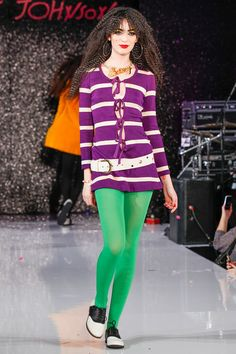 Split Complementary (Necklace : Yellow, Shirt : Purple, Green Stockings) : Betsey Johnson