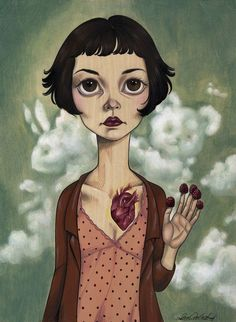 - Paintings inspired by the film Amelie, now on view at Spoke Art gallery in San Francisco. Shop for original art and affordable limited edition prints here. Amelie, Art Gallery, Spoke Art, Audrey Tautou, Contemporary Abstract Art, Chef D Oeuvre, Geek Art, Native American Art, Figurative Art