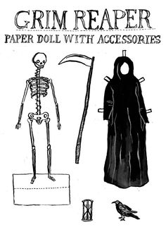 Grim Reaper Paper Doll With Accessories