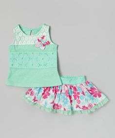 Look what I found on #zulily! Green Lace Tank & Floral Skirt - Infant #zulilyfinds