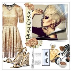 """""""Party Queen"""" by smallbeautymonsters ❤ liked on Polyvore featuring Matthew Williamson, Elizabeth Arden, Huda Beauty, gold, dress and party"""