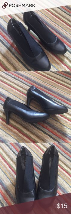 Black comfort heel Great classic black Pump- worn once.  Only flaws are the small dent in heel which is on last pik- Hush Puppies Shoes Heels