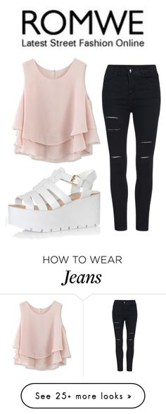"""Romwe High Waisted Ripped Jeans Contest"" by bubbles-peach on Polyvore featuring Glamorous and Chicwish"