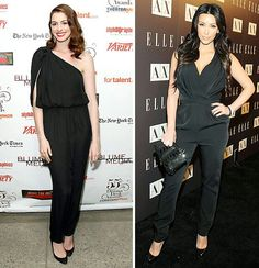 bea429cede6c Celebrities Kim Kardashian and Anne Hathwaywere both spotted wearing black  jumpsuits