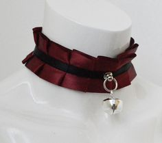 Red and ivory collar, about 33 cm/13 long (can be adjusted) and about 4cm wide. Body is machine-sewn, details are hand-sewn. Body is made of webbing base and satin ribbons. Details are made of metal, lace and satin ribbon. Choker is not itchy or scratchy. Its already made and ready to send to you immediattely. Closure: D-rings and satin ribbon (which is of course included) Shipping: We always ship with tracking number and insurance. If you want custom order (bigger choker, another co...