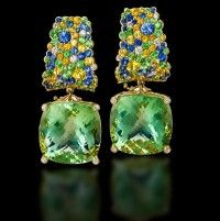 Margot McKinney Green Amethyst Earrings with Sapphires
