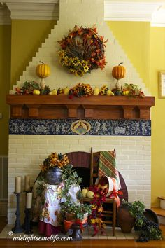 fireplace, mantel, trompe l'oeil, pumpkin, transferware urn, ladderback chair, leaves, autumn, interior decor, olive urn, Southern Living at...