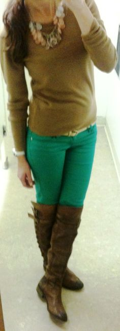 c8bdfc57b Sweater: (similar at and here) Pants: Marshalls - (similar at AP) (similar  here) (Target has some, check store) Boots: Sam Edelman (buy here)  Necklace: ...