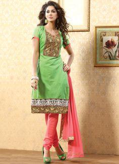 Green Chanderi Churidar Suit SLSVNDA2005