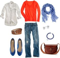 """Blue and Orange"" by bluehydrangea on Polyvore"
