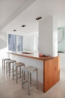 Modern Kitchen Interior Remodeling Madison Square Apartment - Modern - Kitchen - new york - by David Bucovy Architect - Kitchen Island Pillar, Painted Kitchen Island, Kitchen Islands, Kitchen Island Attached To Wall, Modern Kitchen Interiors, Contemporary Kitchen Design, Kitchen Modern, Kitchen Wood, Kitchen Dining