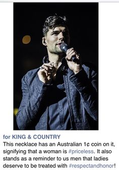 For King and Country necklace from the priceless tour. All the women it stands as a reminder that your priceless and to men it's a reminder that woman are priceless and to treat them with honor and respect!