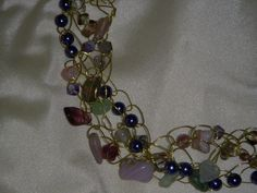 Gold wire crocheted choker with glass beads