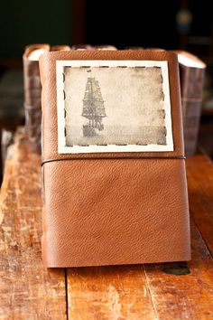 Tall Ship Leather Journal  Handmade Large Leather by wayfaringart, $58.00