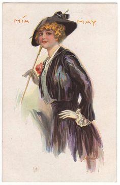 Art nouveau glamour fashion postcard.  Actress Mia May. Designed by Luiz Felipe Usabal Hernandez. 1918