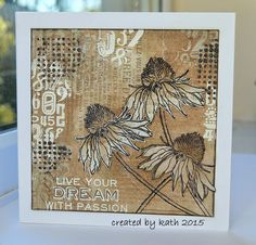 Kath's Blog......diary of the everyday life of a crafter: In A Flower Garden... using Tim Holtz, Ranger, Idea-ology, Sizzix and Stamper's Anonymous products; Mar 2015